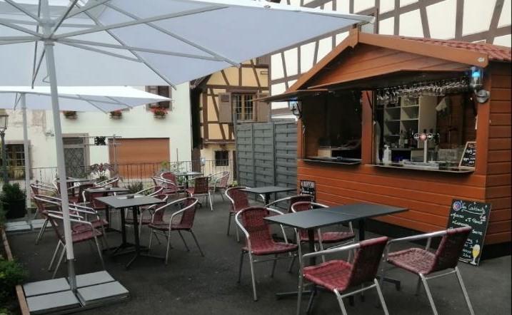 chalet de vente modèle gutenberg 4 x 2 m pour restauration rapide bar / snacking, fabrication rustyle alsace