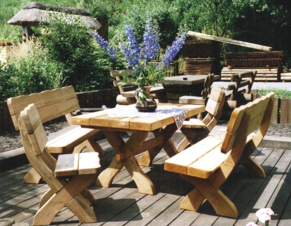 Salon de jardin, banc, table pique-nique en bois - Rustyle