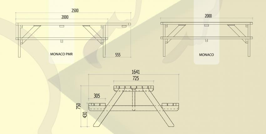 Table banc pique-nique / PMR